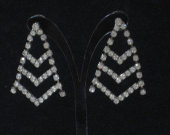 "Vintage Rhinestone 2"" Drop Pierced Earrings"