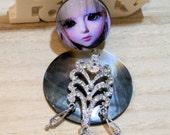 handmade mother of peal  pendant - assemblage jewel diy ooak - steampunk romantic art doll ooak