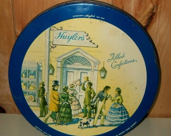 Vintage Candy Tin/Huyler's Filled Confections/Colonial Scene Tin/Dark Blue Tin