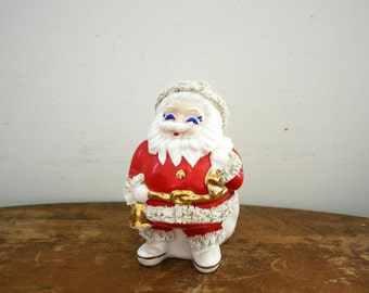 Vintage  1960s Ceramic Spaghetti Trim Santa Claus Coin Bank Made in Japan Santa Claus Program Piece