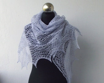 Linen hand knitted lace shawl, Light Blue summer lace shawl.
