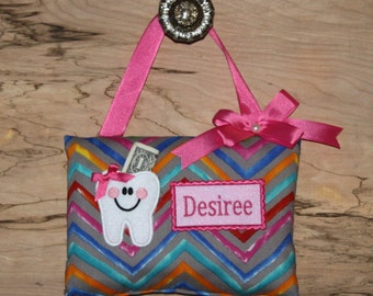 Personalized Tooth Fairy Pillow, Chevron Bright Colors----SHIPS NEXT DAY