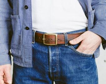 Aged LEATHER BELT . Gift for Men Custom Made Belt Genuine Leather Belt Full Grain Leather Belt Anniversary Gift Vintage Distressed Belt