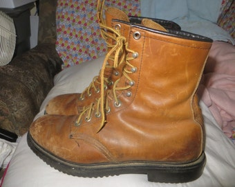 Vtg distressed  Red Wing  brown Leather  hiking / Work / hunting Boots Men   Made In USA