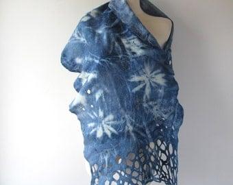 Felted scarf,  Blue grey felt scarf,  blue scarf plant print  scarf, blue  wool scarf women felt shawl by Galafilc