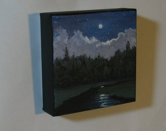 """Small oil painting, moon and clouds, 5""""x5"""" gallery wrap canvas"""