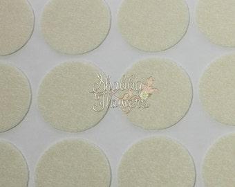 Adhesive Felt Circles, felt dots, 1.5 inch felt for headbands and bows, 12 felt dots per sheet - Cream