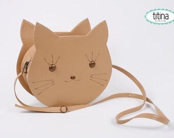 camel faux leather cat bag cross body bag