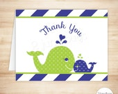 Whale Thank You Card Template - Whale Folded Thank You Card - Nautical Boy Baby Shower - Navy Blue and Green - PRINTABLE, INSTANT DOWNlOAD
