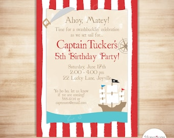 Pirate Birthday Invitation - Pirate Invitation - Pirate Party Invitation - PERSONALIZED & PRINTABLE