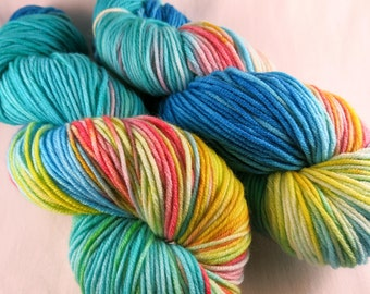 High 5 hand painted yarn - hand dyed superwash merino dk wool / DK yarn / merino superwash / ooak yarn / rainbow yarn / blue wool / teal