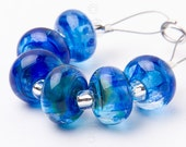 Lagoon Spacer Swirl - Handmade Lampwork Glass Beads by Sarah Downton