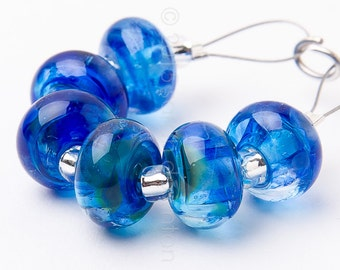 Lagoon Spacer Swirl - Handmade Lampwork Glass Beads by Sarah Downton
