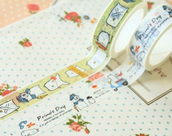 04 Primos Day Cartoon Cat Deco Masking tapes set