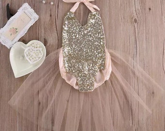 READY TO SHIP!! Pale Pink Sequin Romper Tutu Ballerina Infant Toddler Girls First Birthday Photo Prop Outfit