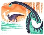 Parasaurolophus - Fine Art Dinosaur Print