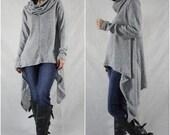 Longsleeve Turtle Neck Pullover Asymmetrical Curve Hem Heather Grey Viscose Knit Sweater Tunics Women Tops With 2 Inseam Pockets Size 2 - 18