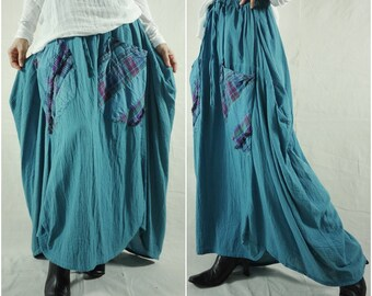 I Wish You Could See...Dark Teal Blue Asymmetric Hem Cotton Skirt With Roomy Patched Pockets Size 8 To Size 14