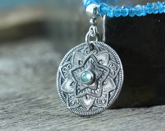 Silver Star Mandala Necklace, Yoga Jewelry, Talisman Necklace, Sterling Silver, Blue Apatite Necklace North Star Buddhist Jewelry