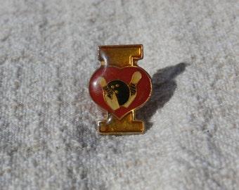 I Love Bowling, Vintage Metal Pin Back Lapel Pin