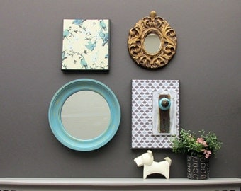 vintage wall art gallery - Aqua Vintage - a 4 pc collection - wall decor