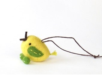 Miniature felt bird ornament : small needle felted bird - yellow and green Spring decor