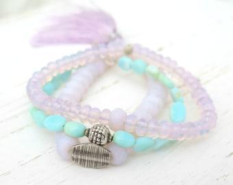 Opal Beaded Bracelet Set - Pink Blue Peruvian Opal - Opal Bracelet - October Birthstone