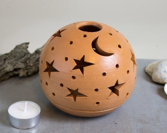 Large Candle Holder Terracotta Natural Beach House Decor Handmade Ceramic wedding lantern centerpiece Tea Light holder luminary Star Moon
