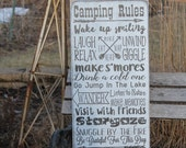 Camping rules CUSTOM Sign Primitive Rustic Vintage Style laser engraved custom personalized Typography Word Art Sign