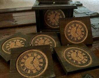 Vintage 1970s Wooden Clocks Coaster Set of 6 & Napkin Holder