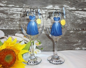 Rustic Wine Glasses, Hand Painted PERSONALIZED, Bridesmaid Gifts, Rustic Mason Jars, Bridal Party Mason Jars, Painted Wine Glasses, Bridal