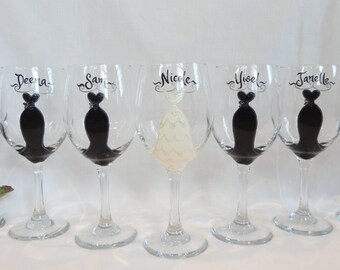 "NICOLE POLOZZI Personalized Bridesmaid Wine Glasses - Hand Painted for ""Snooki's"" Wedding - Actual Set Used for Snooki's wedding"