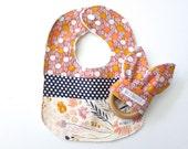 Baby Gift Set - Minky Dribble Bib & Wood Teething Ring - Baby Girl - Wood Teether - Bib - Teething Toy - Modern Spring Floral - Coral Navy