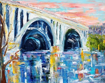 Key Bridge painting original oil on canvas palette knife 12x16 impressionism fine art by Karen Tarlton