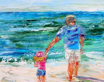 Custom Original Oil Painting Commission - Beach Memories - impressionistic fine art by Karen Tarlton