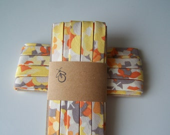 3 Yards Handmade Cotton Bias Tape Binding Yellow Orange Gray Floral 1/2 Inch Double Fold