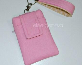 Pink Phone Case and Wristlet - Solid Bubble Gum Pink OR Purple - Yellow - Hot Pink Linen - Back Zipper Pocket - Optional Shoulder Strap