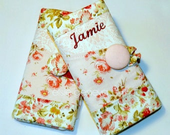 Vintage Soft Pink and Red Roses Floral Crochet Hook Case / Organizer with Sewn In Zipper Pocket Personalized Option