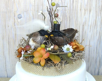 Fall Wedding Cake Topper, Lovebirds Rustic Nest, Bride Groom, Burlap, Woodland, Autumn, Birds