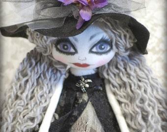 Witch Calista Mauve  cute Textile Art OOak Halloween Decor Big eye lowbrow