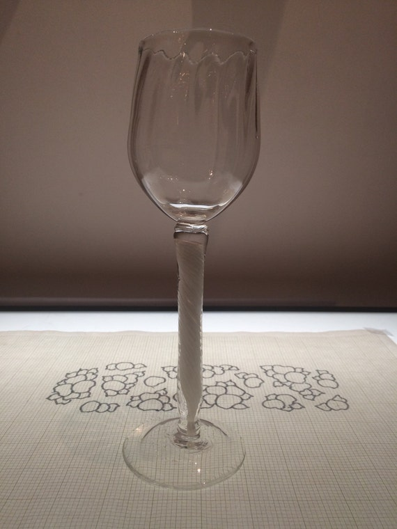 Hand blown wine glass tall goblet with ribbed by for Thin stem wine glasses