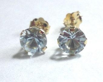 Aquamarine Stud Earrings in 14k Gold Genuine AAA Quality Aquamarine Round Faceted Stud Earrings in 14k Solid Gold Post Stud Earrings