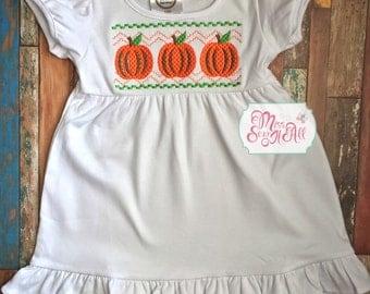 Girls Pumpkin Dress, Custom Pumpkin Dress, Girls Thanksgiving Dress, Girls Fall Dress, Custom Fall Dress