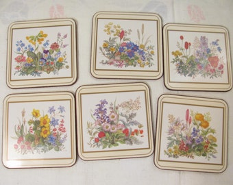 Pimpernel  Drink Coasters - Set of 6 w/ Cork Back   Featuring Wildflowers - NOS New - Never Used in Original Box