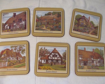 Pimpernel Coasters -  Set of 6 - English Cottages - In Original Box and Unused - Gift Quality