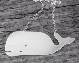 Whale Pendant, Handmade in Sterling Silver Sheet in the UK, Beautiful Large Humpback Fish Statement Necklace, Great Gift for Birthday Girl