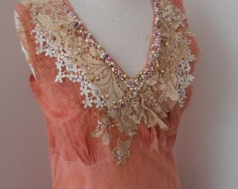 altered couture upcycled dress, medium size salmon pink cotton sleeveless dress, hand beaded, vintage lace, summer dress