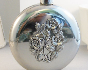 Floral Flask,Flower Accessories,Flower Flask,Floral,Round Flask,Hip Flask,Liquor Flask,STainless STeel,5 oz,Vintage Flask,Victorian Flask,