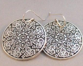 Mandala Earring,Earrings,Silver Earrings,Wedding,Mandala,Flower of Life,Yoga,Earrings,Boho,Hamsa,Boho Earring,Hoop Earring.valleygirldesign