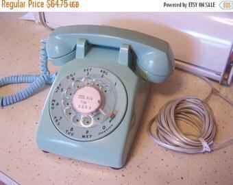 SALE Vintage Rotary Desk Phone, Turquoise Telephone, Mid Century Phone, Teal, Aqua, 1960s, 1970s